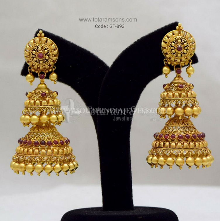 Gold Layered Antique Jhumki From Totaram