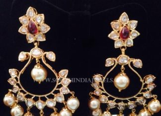 Gold Pachi Polki Chandbali Design
