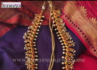 Gold Plated Antique Ruby Haram From Tvameva