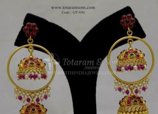 Gold Ruby Jhumka From Totarum