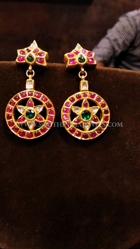 22K Gold Kemp Ruby Earrings Model