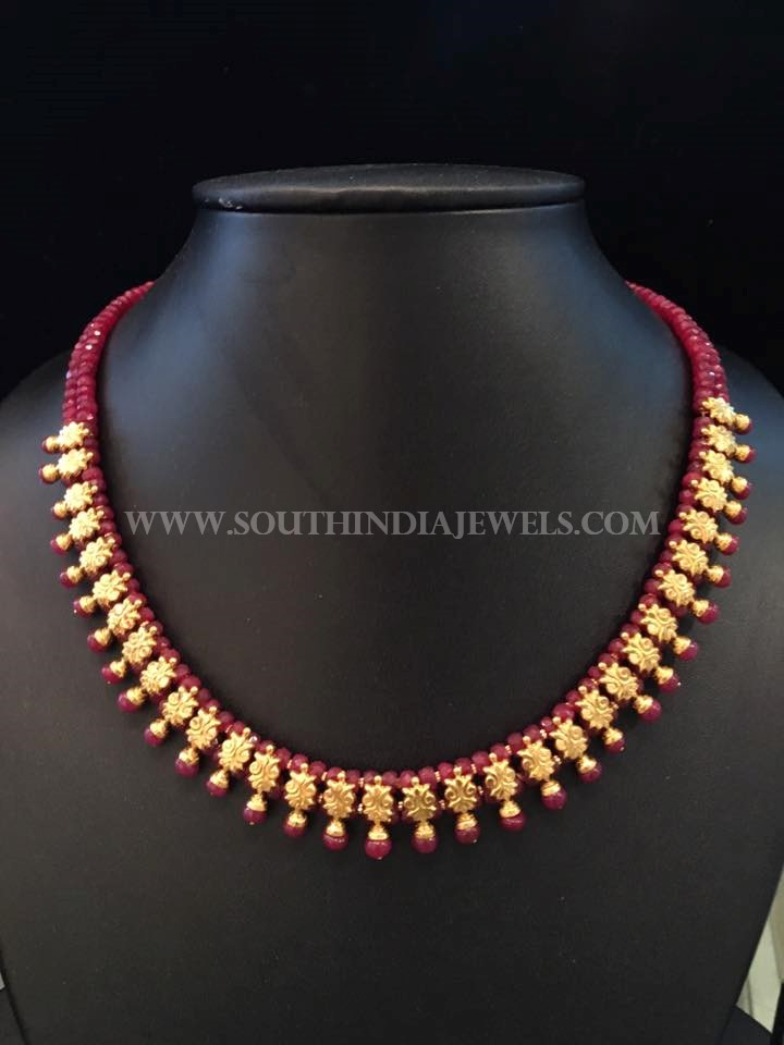 Simple Gold Ruby Necklace From Bhavani Jewellers