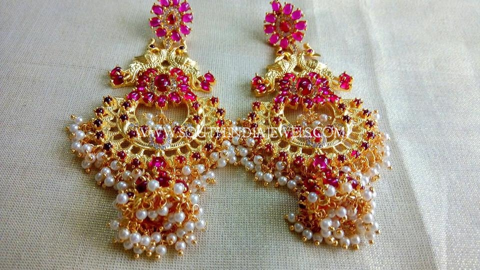 One Gram Gold Ruby Pearl Earrings