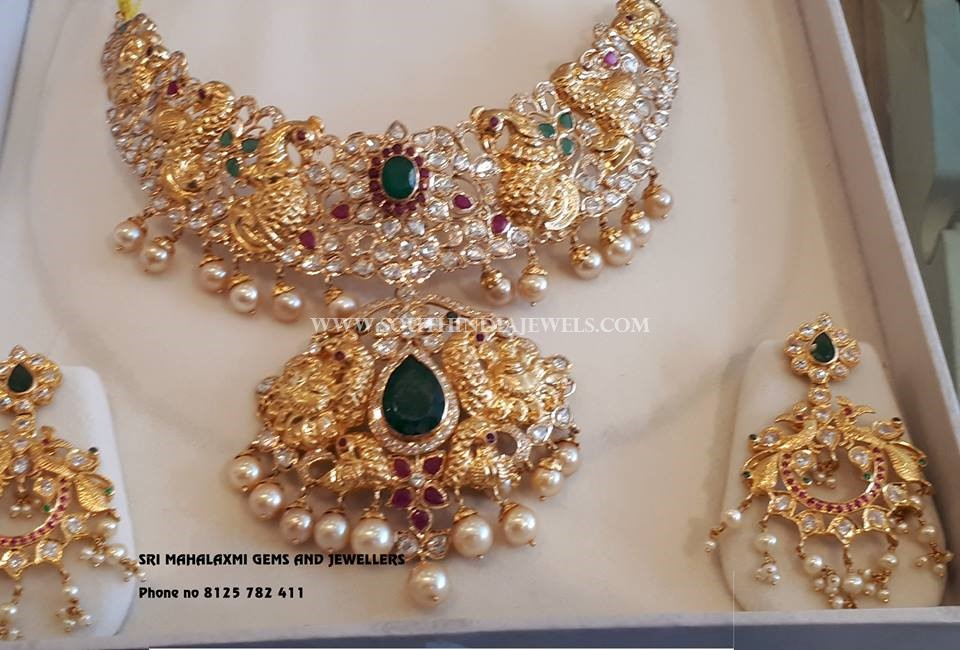 Ruby Emerald Necklace From Sri Mahalaxmi Gems & Jewellers
