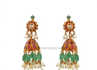 Gold Ruby Emerald Jhumka Model