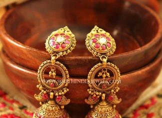 Gold Antique Ruby Jhumka From Manubhai Jewellers