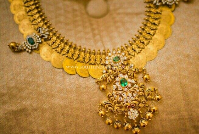 Gold Coin Necklace From Anagha Jewellery