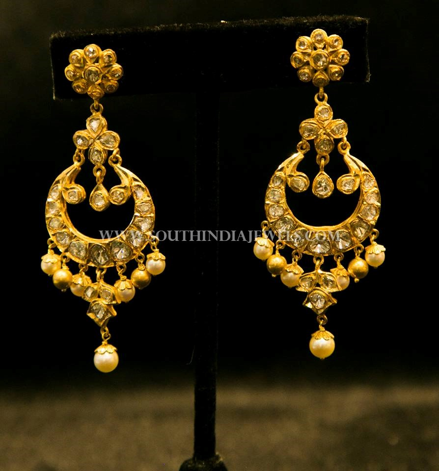 Gold Designer Chandbali From Dinesh Jewellers