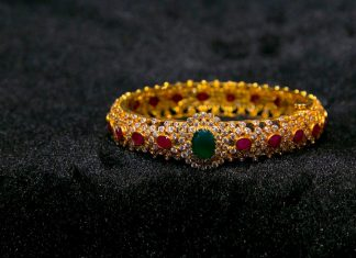 Diamond Bangle With Rubies & Emeralds