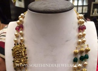 Gold Antique Mala With Side Locket