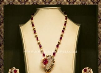 Gold Ruby Designer Necklace With Earrings