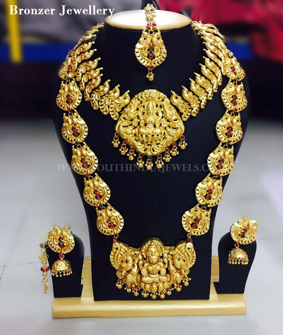 Apara Bridal Pearl Lct Stones Gold Necklace Set Jewellery: Antique Jewellery Set For Bridal