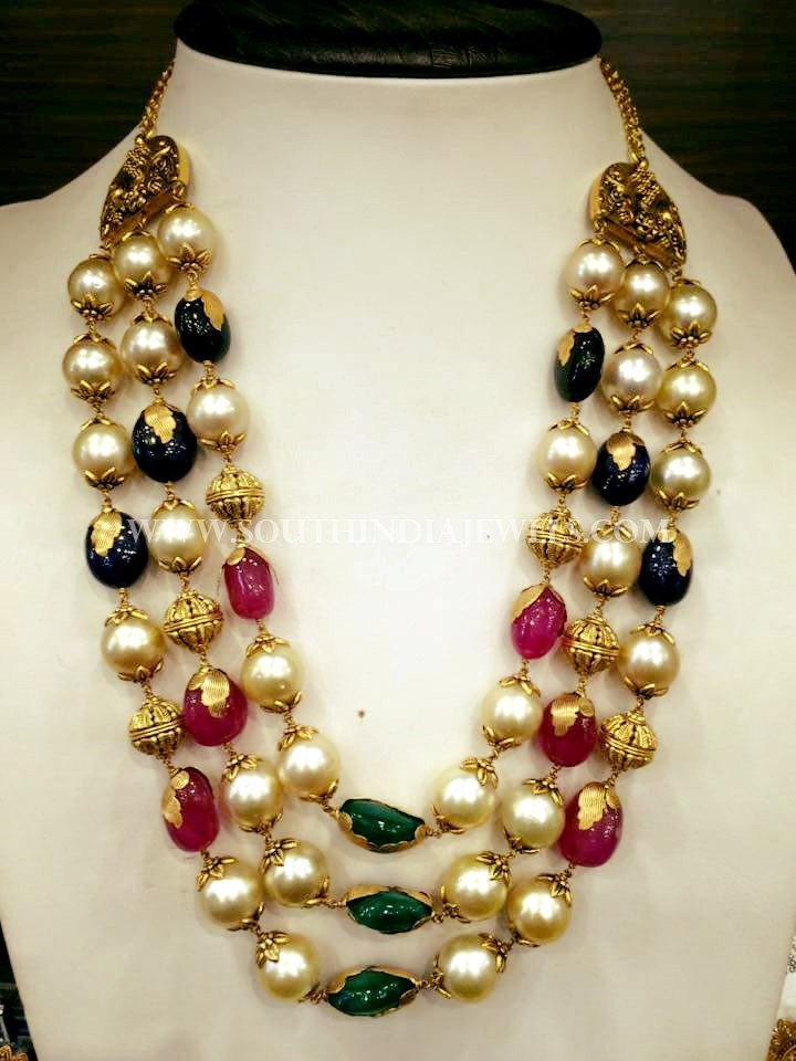 Latest Gold Pearl Haram Design South India Jewels