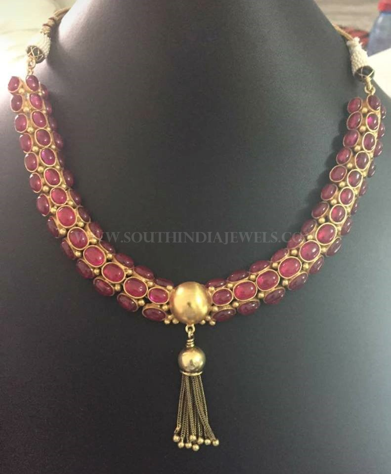 92 5 pure silver kemp necklace gold plated south india