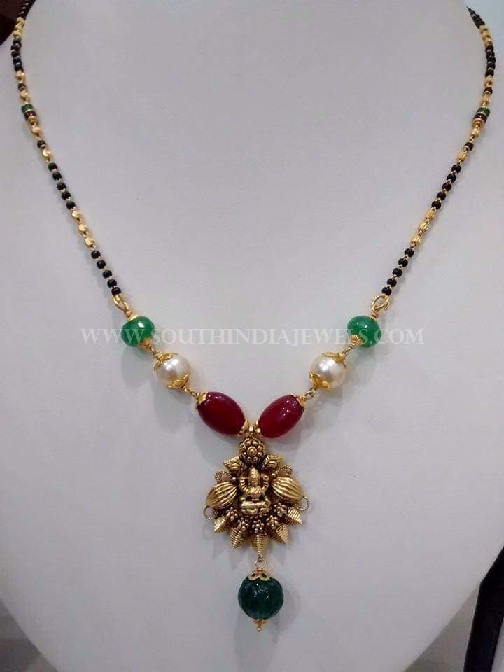 Black Bead Neck With Rubies & Emeralds