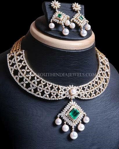 Designer Diamond Necklace & Matching Earrings