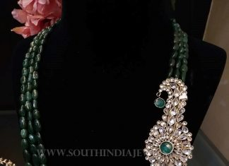 Designer Emerald Haram With Side Locket