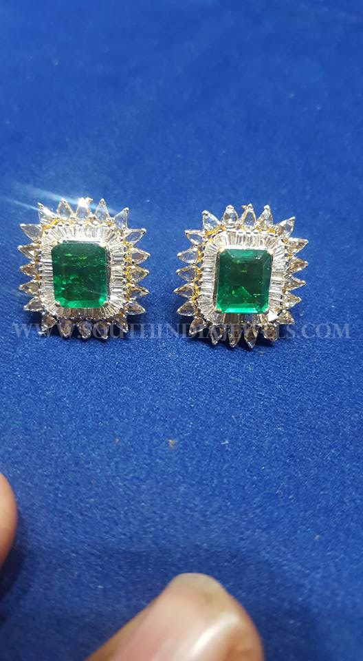 Diamond Emerald Ear Stud