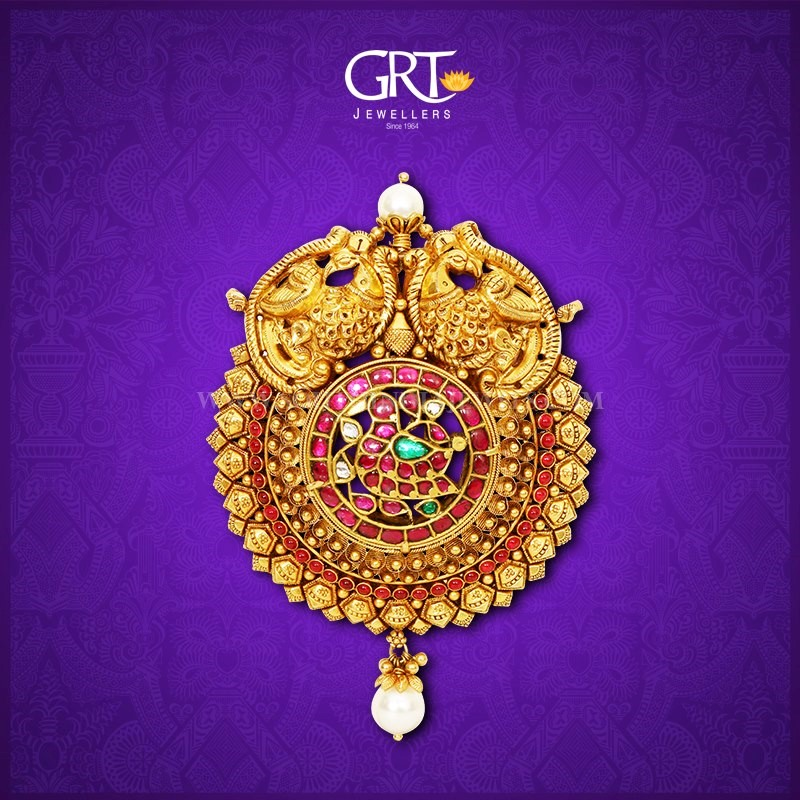Latest Gold Antique Pendant Model From GRT Jewellers