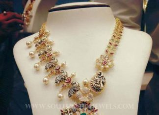 Gold Designer Peacock Necklace Set