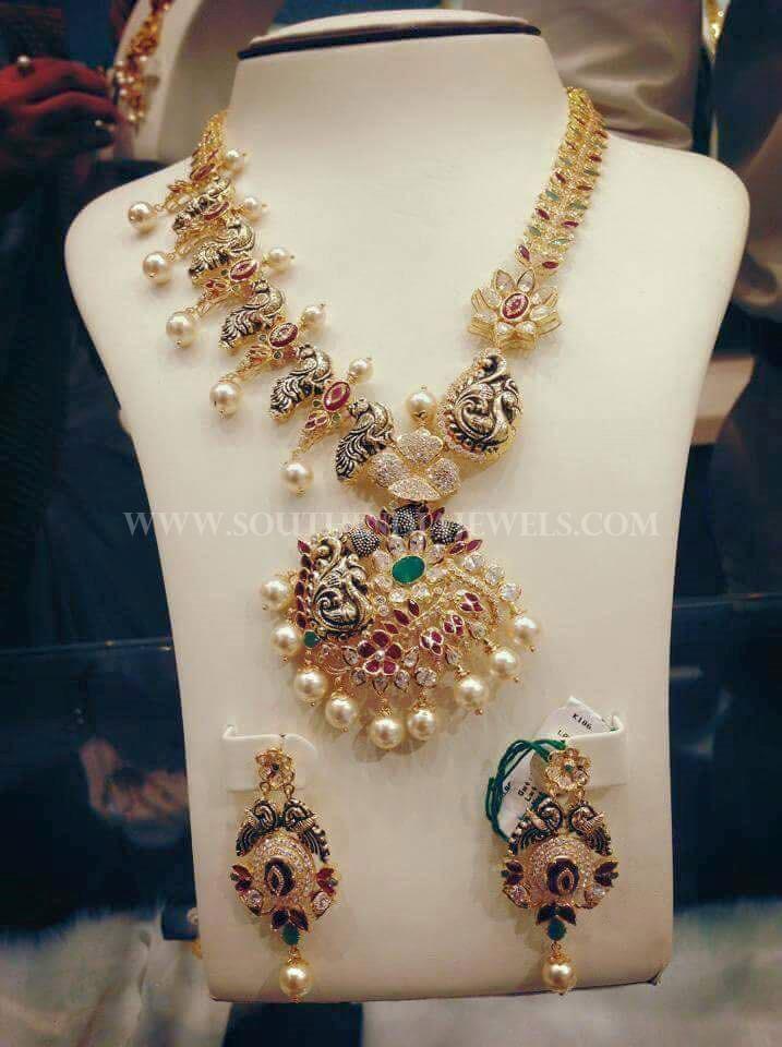 Gold Designer Peacock Necklace Set