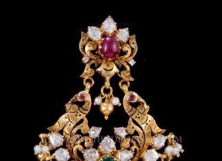 Gold Peacock Pendant From Nakoda Jewellers