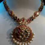 Gold Ruby Emerald Necklace With Pearls