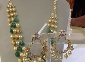 Gold Pearl Emerald Haram With Earrings