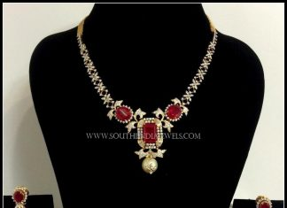 Simple Diamond Ruby Necklace