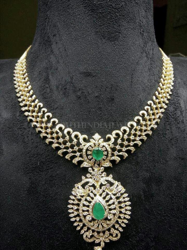 Diamond Emerald Necklace From Sri Balaji Jewellers