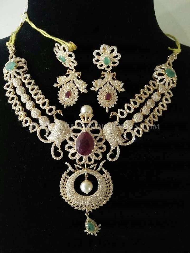 Diamond Peacock Step Necklace Set