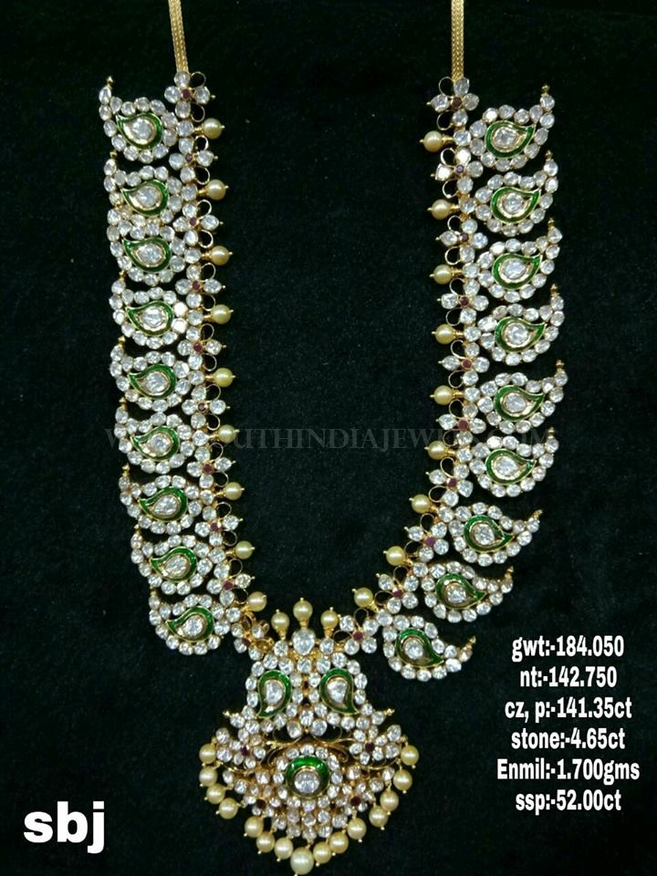 Gold CZ Mango Haram From Sri Balaji Jewellers