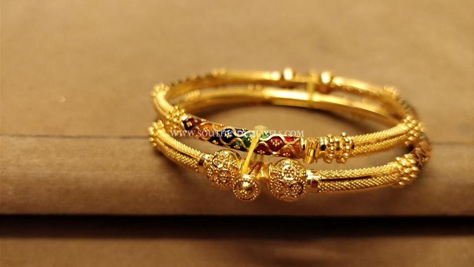 Gold Enamel Bangle From Sree Harsha Jewellers