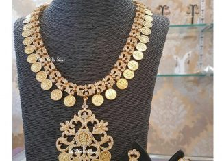 CZ Stone Silver Coin Necklace & Jhumka