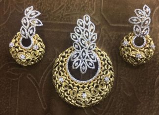 Designer Diamond Pendant Set From Lakshmi Jewellers