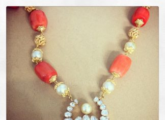 Gold Coral Polki Necklace