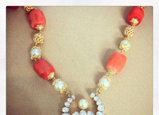 Gold Coral Polki Necklace
