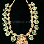 Gold Mango Necklace With Green Stones