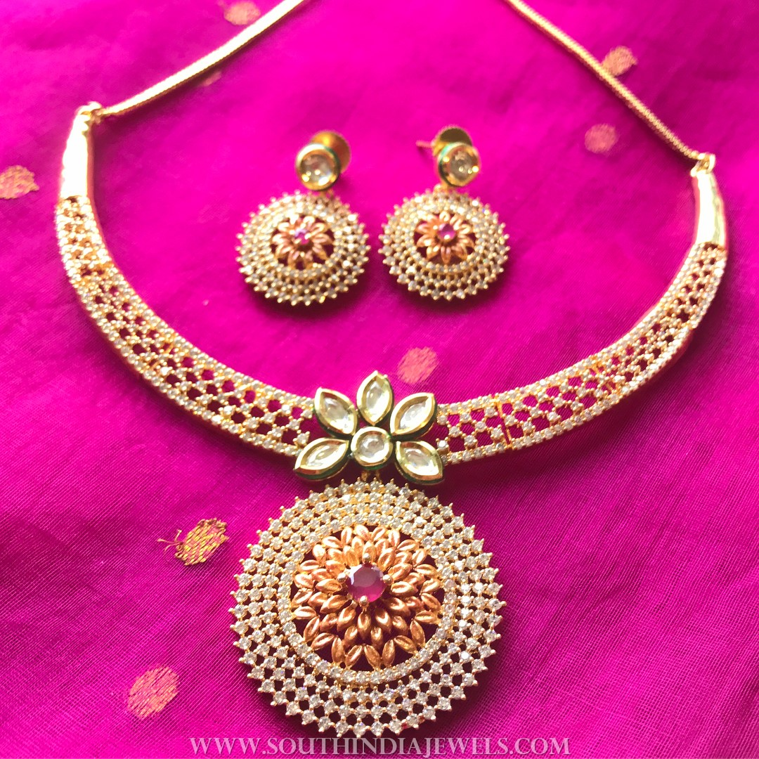 Gold Plated Stone Attigai Set