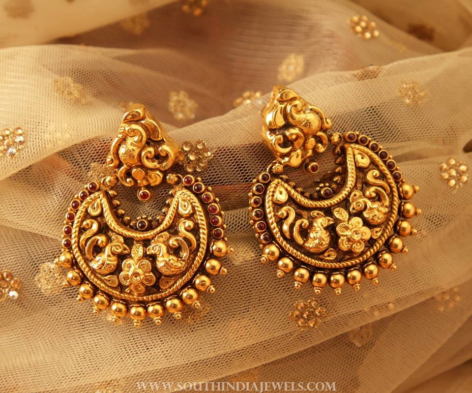 Gold Antique Chandbali From Manubhai Jewellers