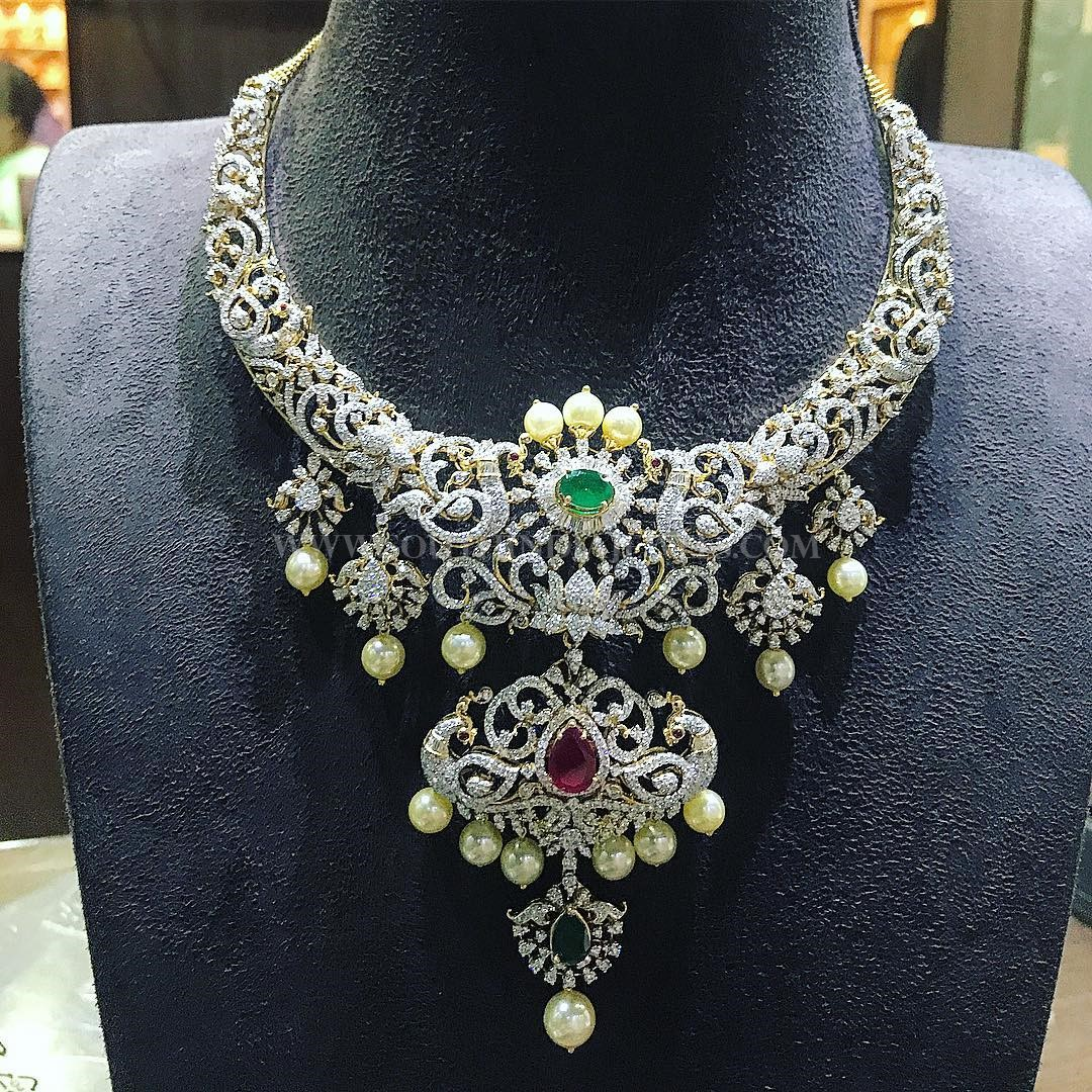 Bold Diamond Necklace From  P.Satyanarayan & Sons Jewellers