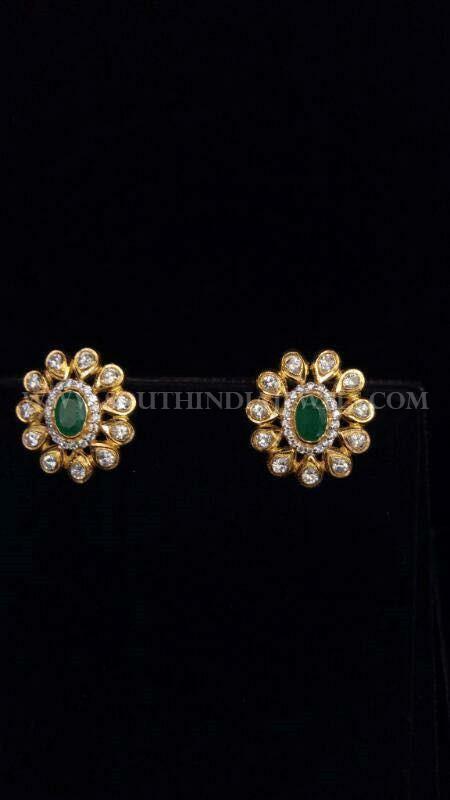 Gold Emerald Ear Stud