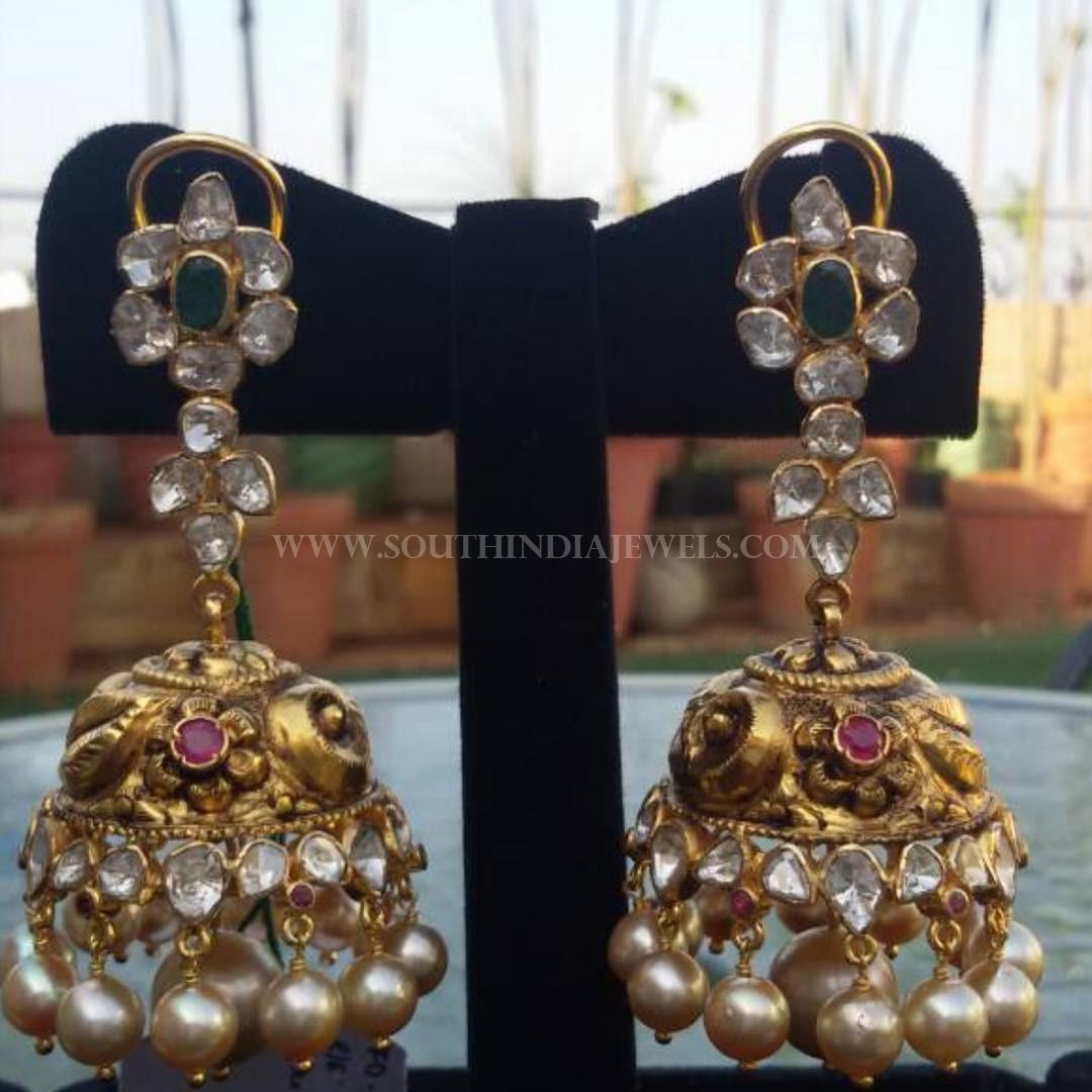 Gold Antique Jhumka From Manjula Jewels