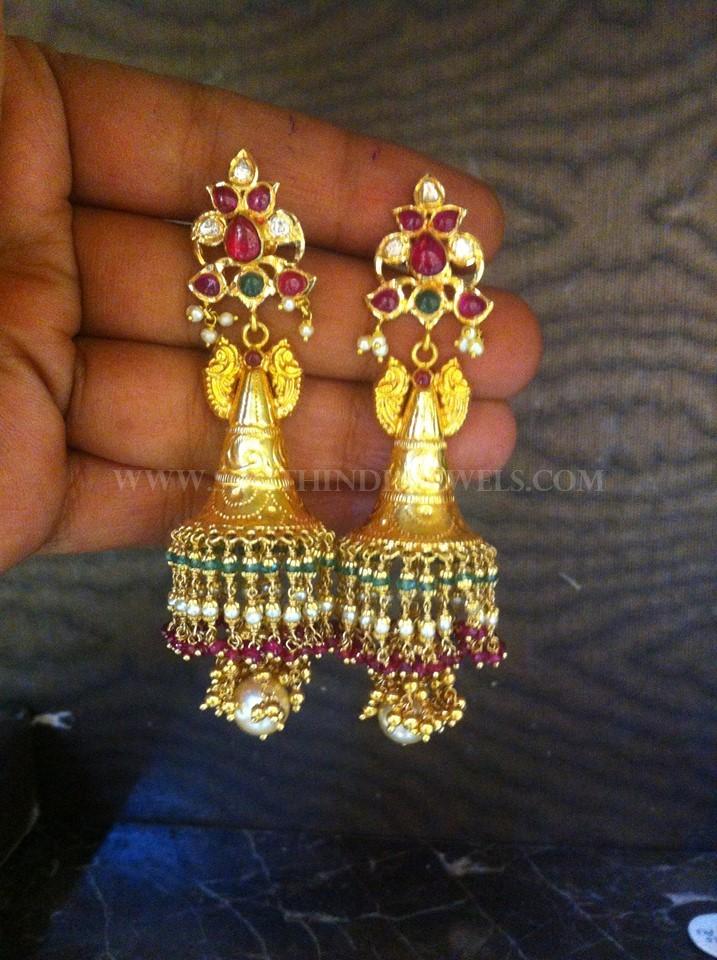 Gold Antique Jhumka From Tirupati Jewellers