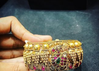Gold Antique Kada From P.Satyanarayan & Sons