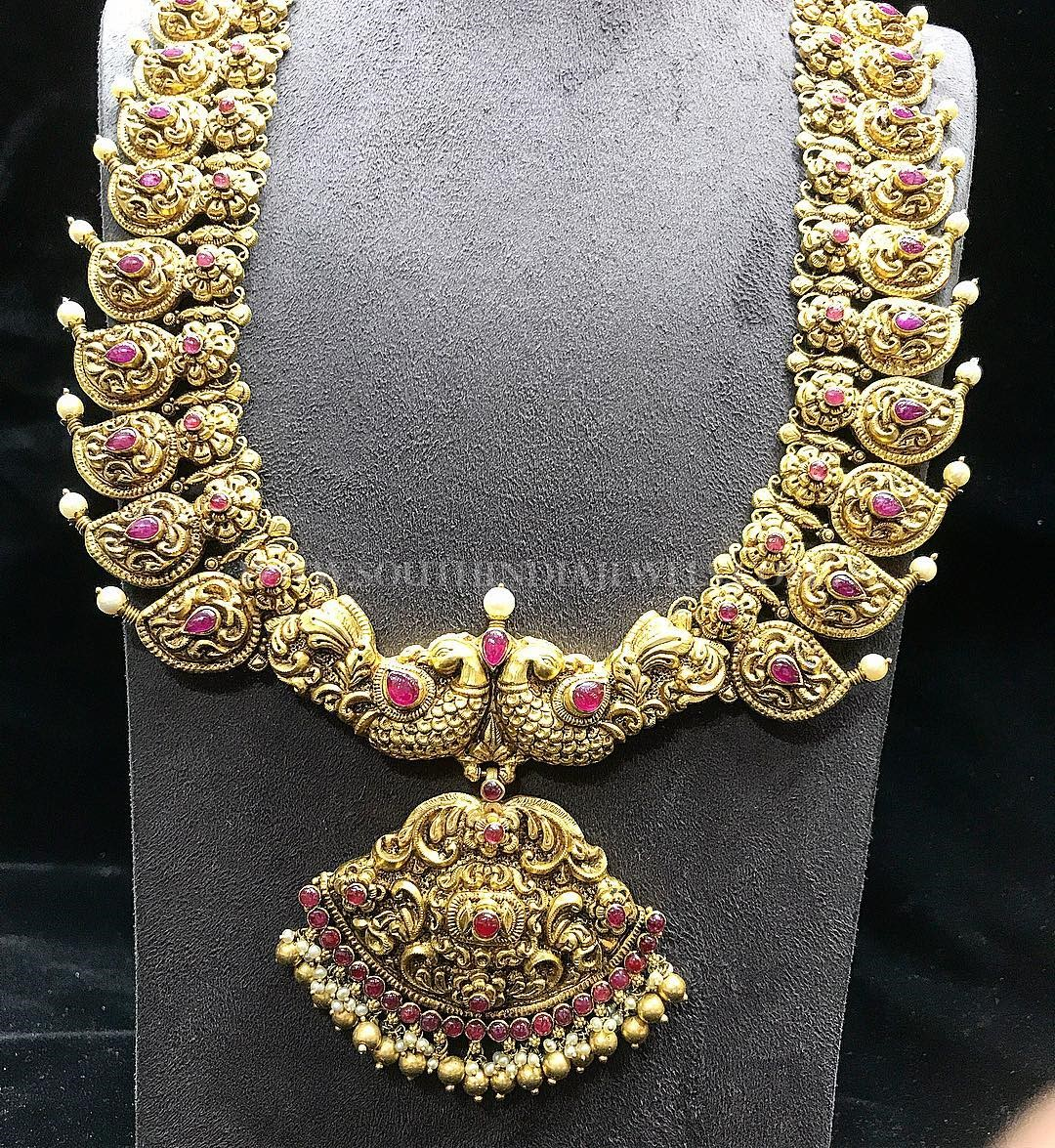 Gold Antique Peacock Haram From  P.Satyanarayan & Sons