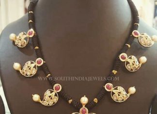 Gold Black Thread Necklace From Manjula Jewels
