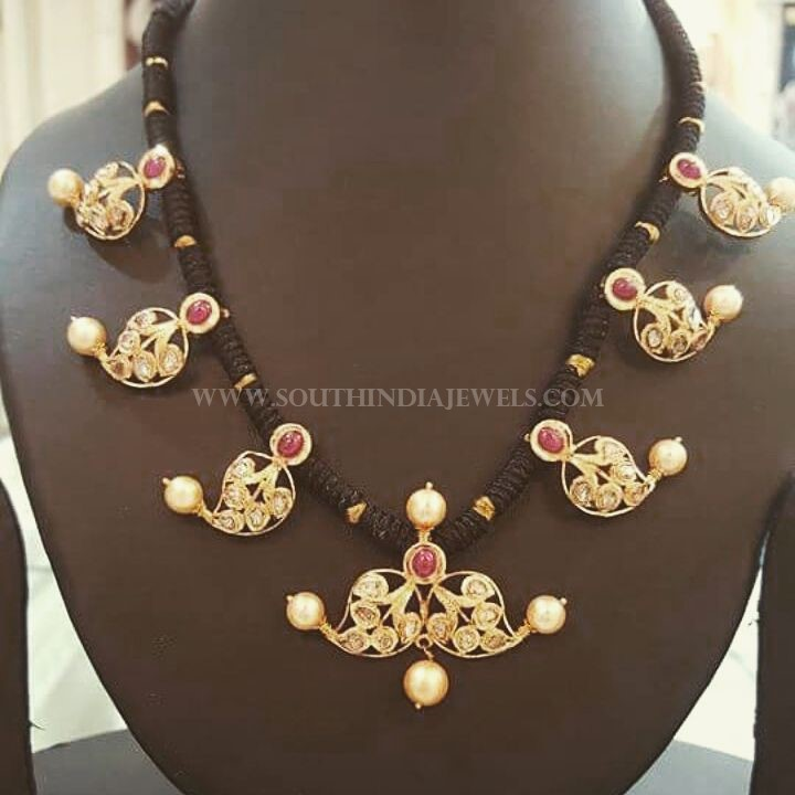 Gold Black Thread Necklace From Manjula Jewels