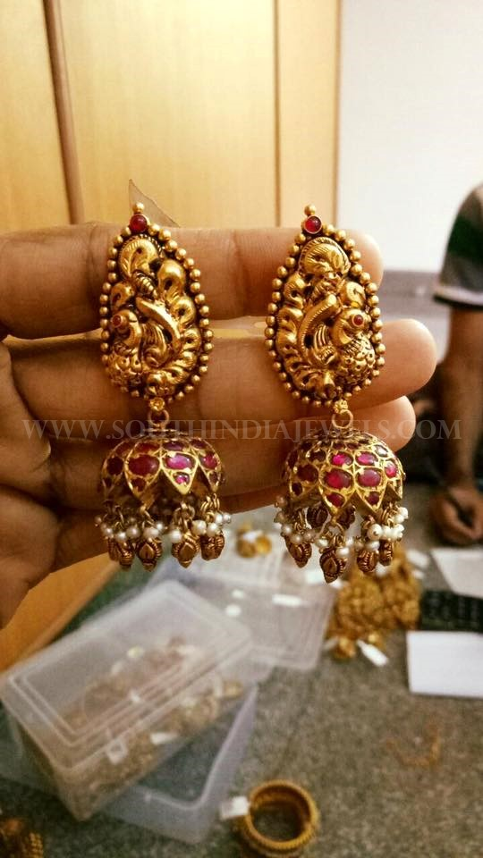 Gold Kemp Peacock Jhumka Model