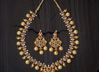 Gold Plated Ruby Necklace From Kushal\u0027s Fashion Jewellery & Latest Antique Jewellery Designs